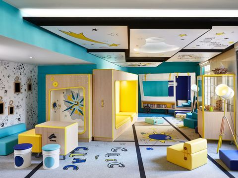 Interior design, Lighting, Yellow, Room, Wall, Ceiling, Floor, Interior design, Turquoise, Teal,