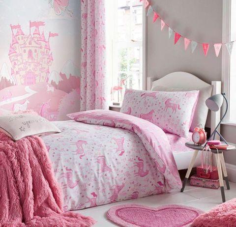 Pink, Bedding, Bed sheet, Bed, Furniture, Bedroom, Room, Curtain, Interior design, Textile,