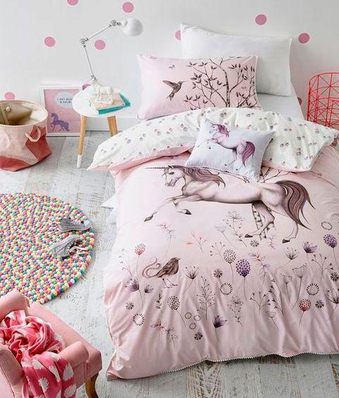 Bedding, Bed sheet, Pink, Bed, Bedroom, Textile, Pillow, Furniture, Duvet cover, Room,