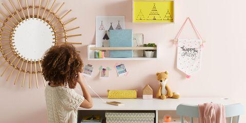 Desk, Furniture, Computer desk, Table, Interior design, Room, Writing desk, Office equipment, Shelf, Pattern,