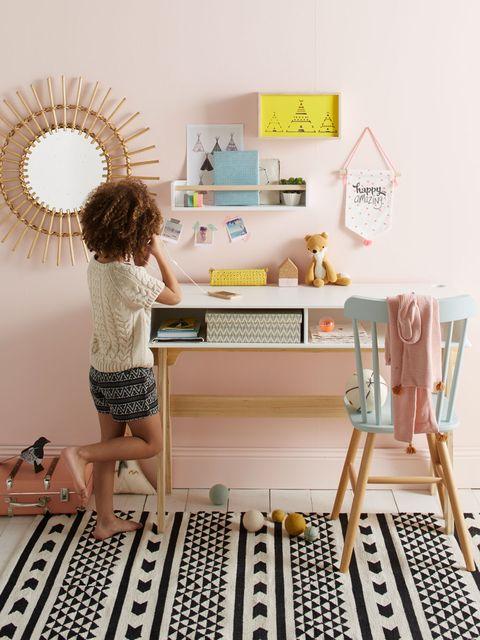 Desk, Furniture, Table, Room, Interior design, Yellow, Computer desk, Shelf, Writing desk, Chair,
