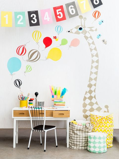 Wall sticker, Yellow, Room, Wallpaper, Table, Party, Interior design, Balloon, Furniture,