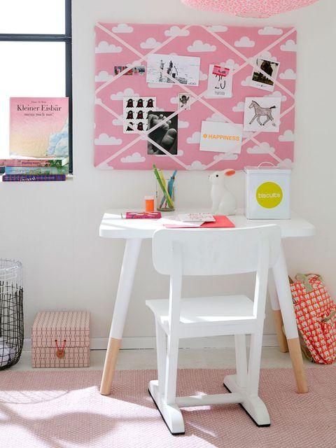 Furniture, Pink, Desk, Table, Room, Interior design, Wall, Design, Textile, Wallpaper,