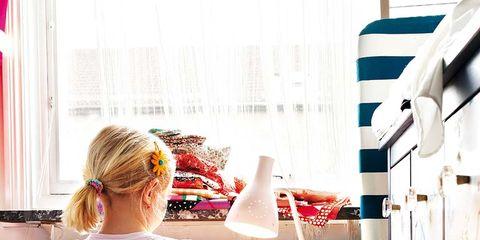 Room, Interior design, Textile, Pink, Furniture, Bed, Magenta, Linens, Interior design, Bed frame,