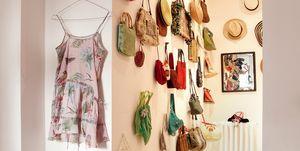 Ordenar bolsos en la pared