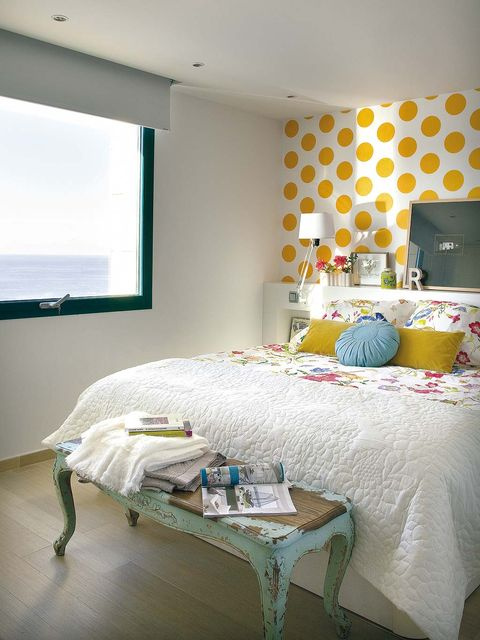 Bedroom, Room, Furniture, Bed, Interior design, Bed sheet, Property, Wall, Yellow, Turquoise,