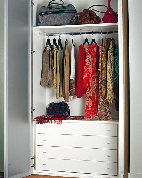 Wood, Room, Red, Clothes hanger, Chest of drawers, Shelving, Closet, Fashion, Drawer, Cabinetry,