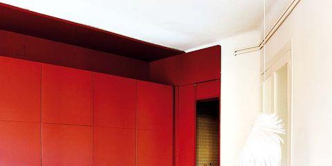 Room, Interior design, Textile, Furniture, Red, Bedding, Bedroom, Linens, Bed sheet, Floor,