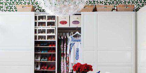 Room, Interior design, Shelving, Shelf, Interior design, Linens, Door, Home accessories, Throw pillow, Pillow,