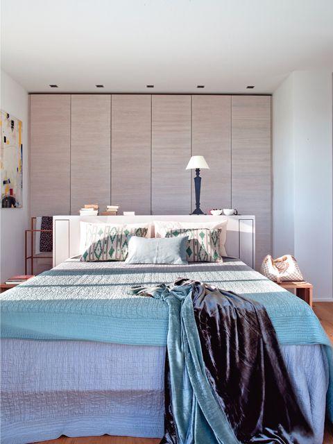 Lighting, Room, Interior design, Bedding, Bed, Textile, Bedroom, Bed sheet, Linens, Wall,