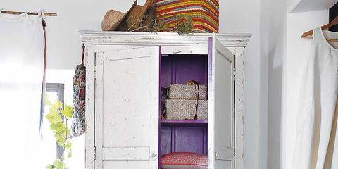 Room, Interior design, Purple, Shelving, House, Shelf, Interior design, Linens, Cupboard, Hutch,