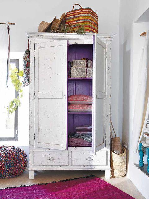 Room, Interior design, Purple, Shelving, Linens, Shelf, Cupboard, Interior design, Carpet, Violet,