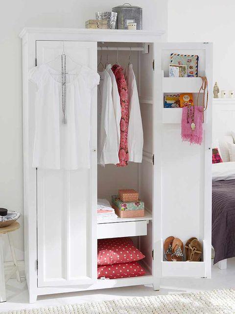 Room, Interior design, Shelving, Linens, Peach, Shelf, Bedding, Bedroom, Wardrobe, Closet,