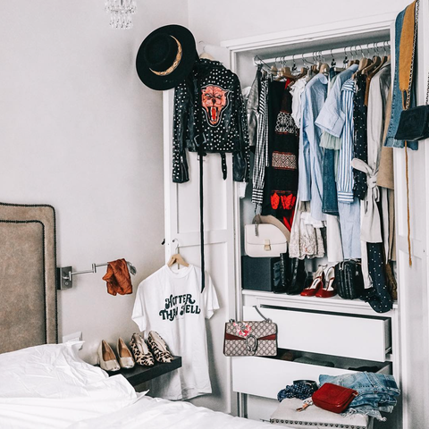 White, Room, Clothes hanger, Closet, Furniture, Interior design, Shelf, Bedroom, Curtain, Black-and-white,