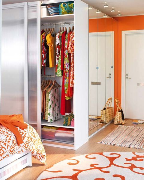 Room, Floor, Flooring, Interior design, Orange, Door, Carpet, Ceiling, Fixture, Linens,