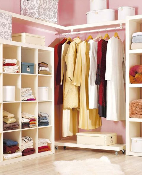 Room, Shelving, Clothes hanger, Shelf, Beige, Closet, Wardrobe, Home accessories, Collection, Linens,