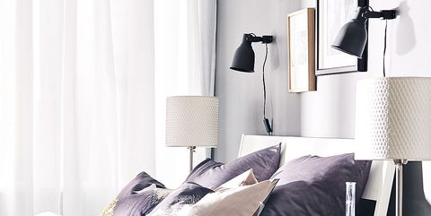 Room, Interior design, Lamp, Textile, Lampshade, White, Bedding, Wall, Bedroom, Linens,