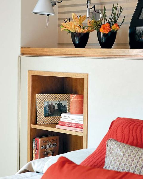 Flowerpot, Room, Textile, Interior design, Orange, Shelving, Linens, Interior design, Teal, Grey,