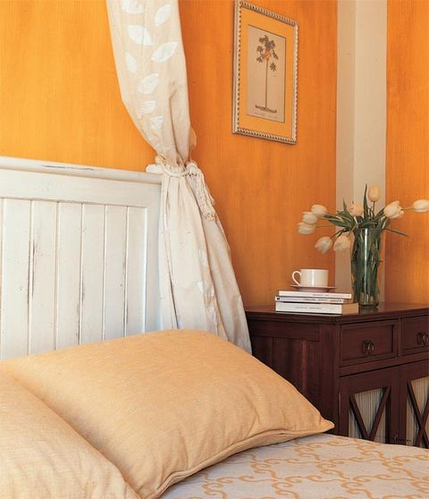 Room, Yellow, Interior design, Property, Bed, Textile, Wall, Furniture, Linens, Bedroom,