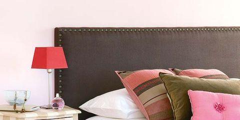 Room, Interior design, Textile, Floor, Bedding, Linens, Pink, Wall, Bed sheet, Bedroom,