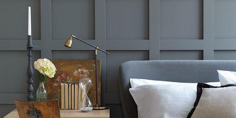 Room, Furniture, Interior design, Yellow, Wall, Wood, Shelf, Table, Home, Living room,