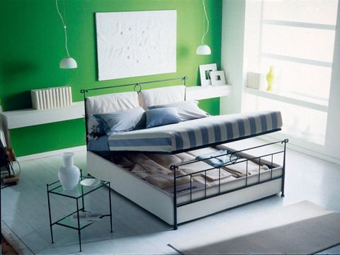 Green, Interior design, Room, Property, Wall, Furniture, Floor, Home, Bedding, Pillow,