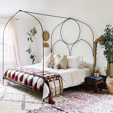 Furniture, Bed, Bedroom, Canopy bed, Bed frame, Room, Iron, Interior design, Bedding, Bed sheet,