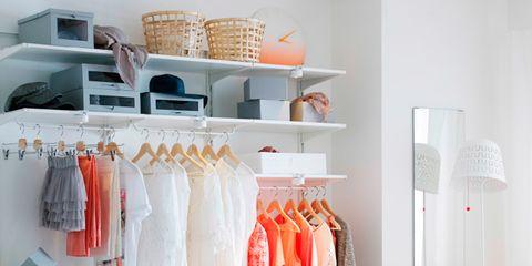 Room, Textile, Clothes hanger, Orange, Fashion, Linens, Retail, Home accessories, Collection, Boutique,