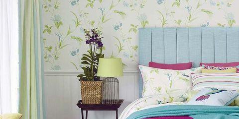 Interior design, Room, Green, Wall, Textile, Home, Furniture, Linens, Purple, Interior design,
