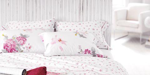 Bed, Room, Product, Interior design, Bedding, Bedroom, Bed sheet, Furniture, Textile, Red,