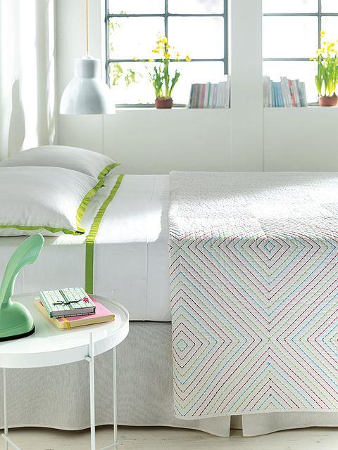 Room, Interior design, Textile, Wall, Linens, Fixture, Interior design, Grey, Teal, Rectangle,