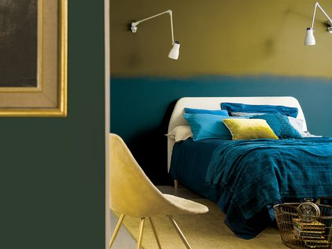 Yellow, Room, Wall, Interior design, Linens, Bed, Bedding, Bedroom, Pillow, Teal,
