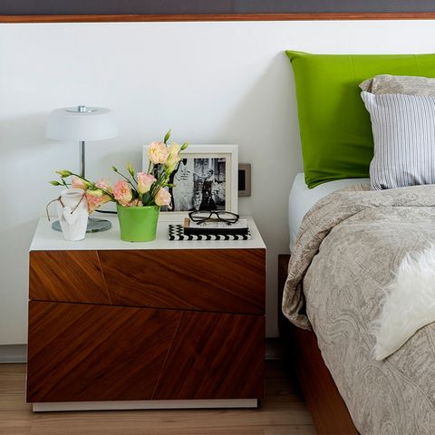 Furniture, Nightstand, Room, Bedroom, Bedding, Bed, Chest of drawers, Interior design, Drawer, Table,