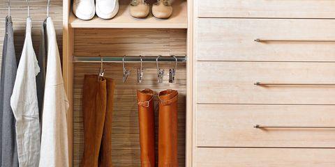 Room, Wood, Furniture, Wardrobe, Shelf, Clothes hanger, Linens, Closet, Hardwood, Towel,