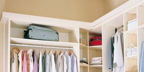 Room, Shelving, Shelf, Closet, Clothes hanger, Interior design, Wardrobe, Collection, Cupboard, Home accessories,
