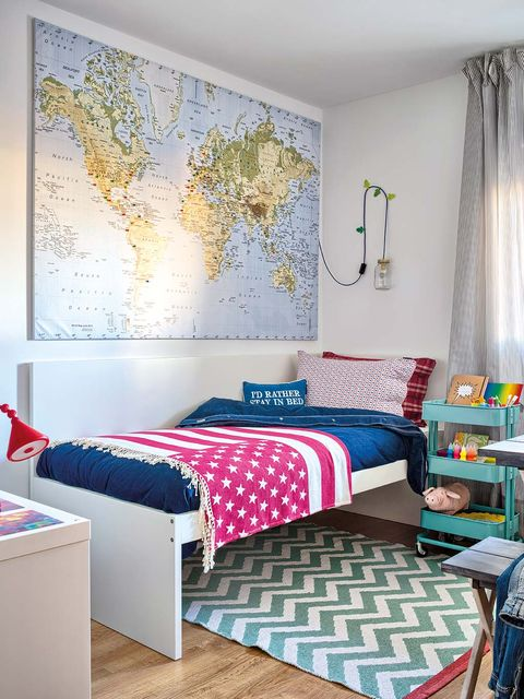 Blue, Room, Interior design, Wall, Textile, Bed, Floor, Bedroom, Furniture, Home,