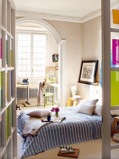 Room, Wood, Interior design, Textile, Furniture, Wall, Home, Ceiling, Linens, Interior design,