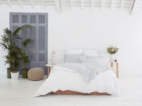 Room, Bed, Interior design, Wall, Flowerpot, Bedding, Linens, Bedroom, Bed sheet, Real estate,