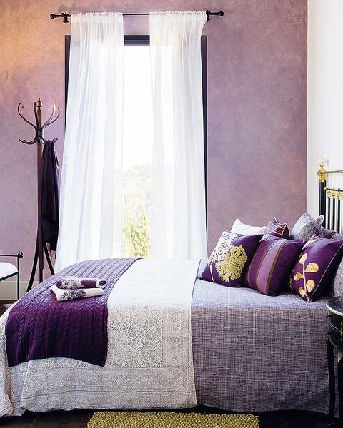Room, Interior design, Bedding, Bed, Property, Textile, Purple, Bedroom, Bed sheet, Linens,