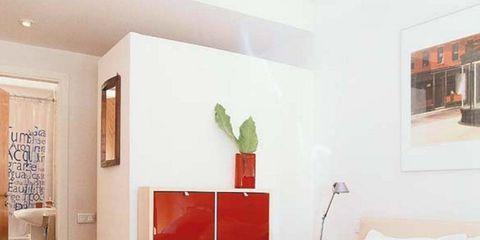 Room, Bed, Interior design, Property, Bedding, Textile, Wall, Floor, Bed sheet, Orange,