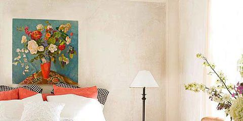 Furniture, Room, Bedroom, Bed, Interior design, Green, Yellow, Wall, Living room, Orange,