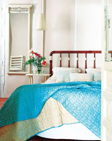 Room, Turquoise, Blue, Aqua, Furniture, Product, Property, Interior design, Bed sheet, Textile,