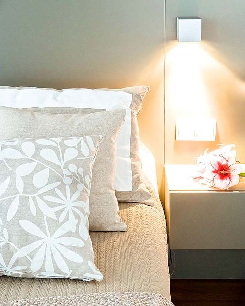 Lighting, Room, Textile, Interior design, Wall, Linens, Bedroom, Bed, Bedding, Cushion,