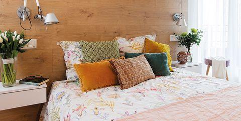 Furniture, Room, Wall, Bed, Interior design, Bedroom, Property, Yellow, Floor, Bed sheet,