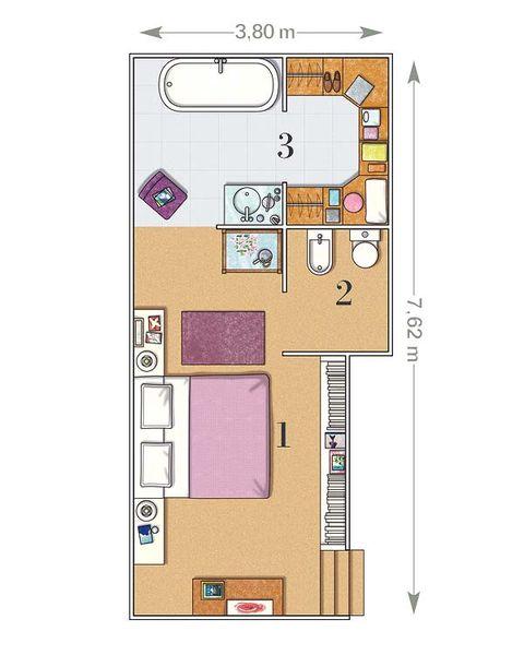 Un dormitorio de 23 m con ba o y vestidor for Casa clasica procrear 1 dormitorio