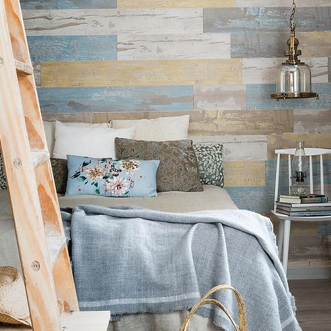 Blue, Room, Textile, Interior design, Linens, Bedding, Wall, Bed, Pillow, Bed sheet,
