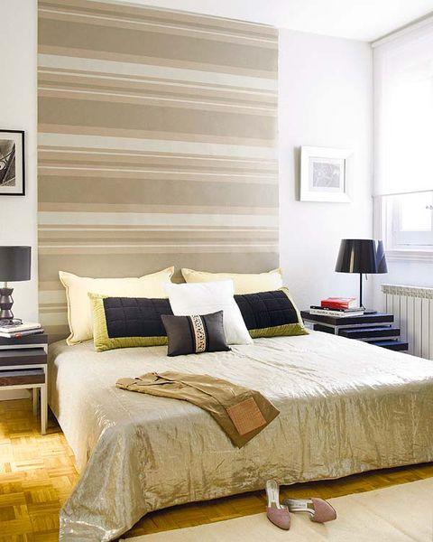 Room, Bed, Interior design, Yellow, Floor, Wood, Wall, Property, Bedding, Bedroom,