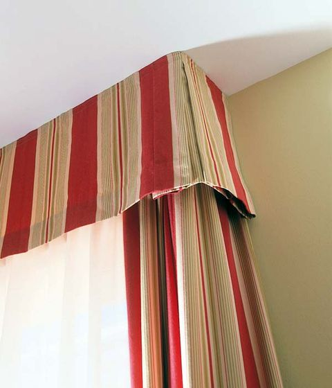 Textile, Red, Interior design, Maroon, Tints and shades, Linens, Peach, Window treatment, Coquelicot, Pattern,