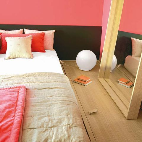 Wood, Room, Lighting, Bed, Interior design, Textile, Bedding, Bedroom, Floor, Wall,
