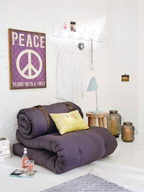 Room, Textile, Purple, Interior design, Bedding, Wall, Linens, Bedroom, Bed sheet, Pillow,